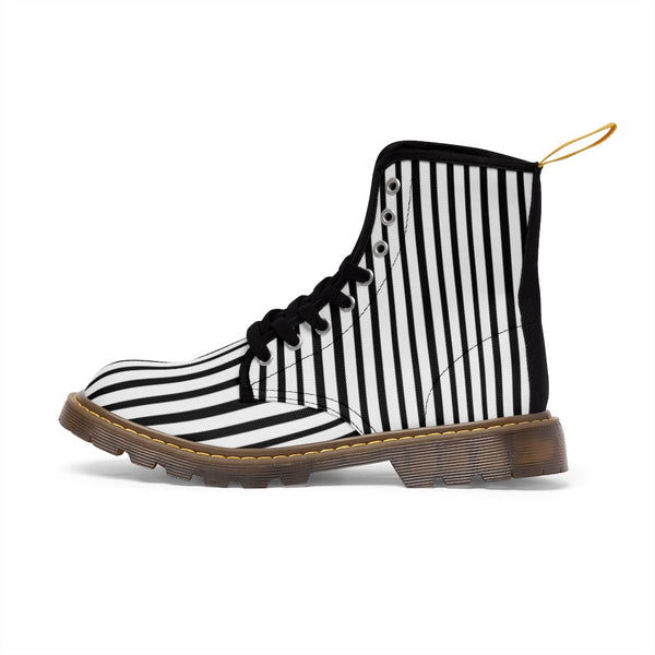 Black Striped Print Men's Boots, Black White Stripes Best Hiking Winter Boots Laced Up Shoes For Men-Shoes-Printify-Heidi Kimura Art LLC Black Striped Print Men's Boots, Black White Stripes Men's Canvas Hiking Winter Boots, Fashionable Modern Minimalist Best Anti Heat + Moisture Designer Comfortable Stylish Men's Winter Hiking Boots Shoes For Men (US Size: 7-10.5)