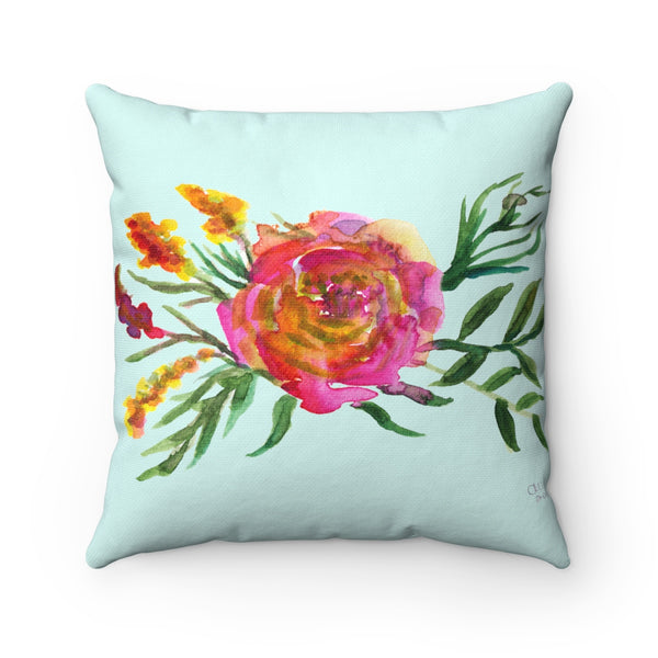 Pink Rose Girlie Floral Wreath Print Spun Polyester Square Pillow Case - Made in USA-Pillow Case Only-14x14-Heidi Kimura Art LLC