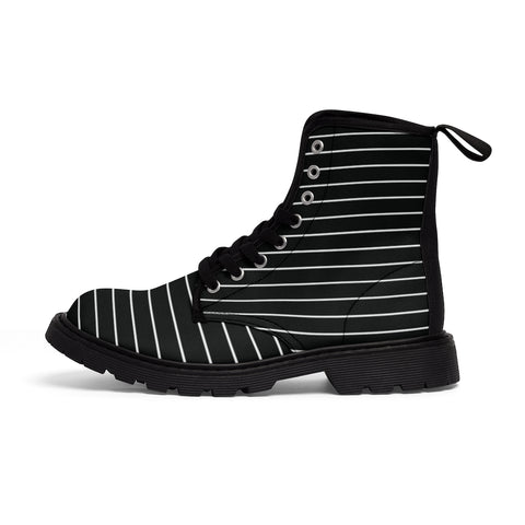 Black Striped Women's Canvas Boots, Modern White Black Stripes Print Winter Boots For Ladies-Shoes-Printify-Heidi Kimura Art LLC Black Striped Women's Canvas Boots, Modern White Black Stripes Hiking Boots, Casual Fashion Gifts, High Fashion Combat Boots Shoes, Designer Women's Winter Lace-up Toe Cap Hiking Boots Shoes For Women (US Size 6.5-11)