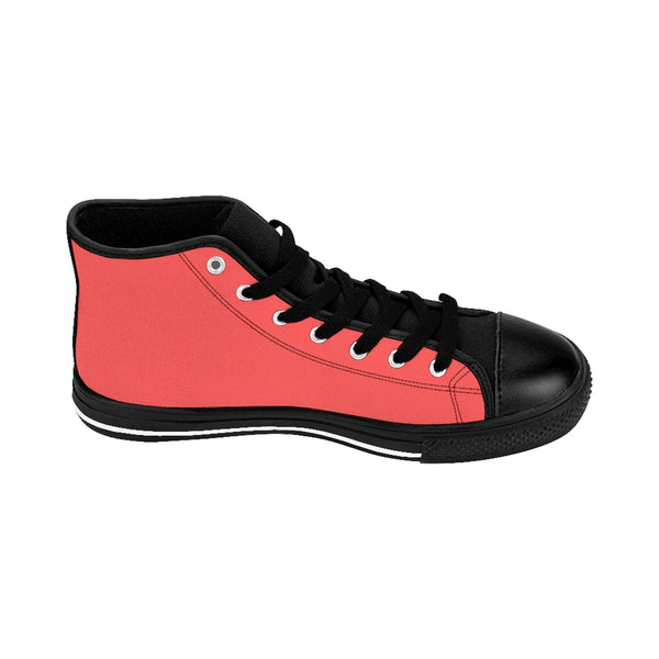 Coral Pink Solid Color Classic Women's High Top Sneakers Running Shoes (US Size 6-12)-Women's High Top Sneakers-Heidi Kimura Art LLC Coral Pink Women's Sneakers, Coral Pink Solid Color Classic Women's High Top Sneakers Running Shoes (US Size 6-12)