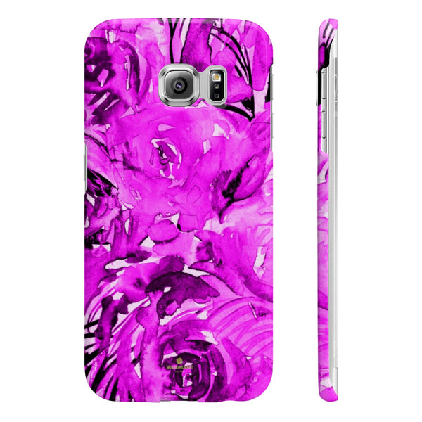 Purple Pink Slim iPhone/ Samsung Galaxy Floral Purple Rose Smart Phone Case, Made in UK-Phone Case-Samsung Galaxy S6 Edge Slim-Glossy-Heidi Kimura Art LLC