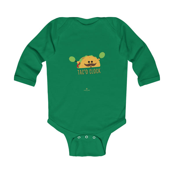 Taco Cute Funny Baby Boy or Girls Infant Kids Long Sleeve Bodysuit - Made in USA-Infant Long Sleeve Bodysuit-Kelly-NB-Heidi Kimura Art LLC