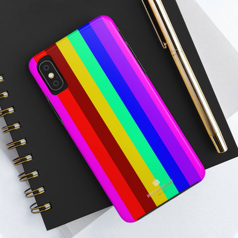 Gay Pride Colorful iPhone Case, Case Mate Tough Samsung Galaxy Phone Cases-Phone Case-Printify-Heidi Kimura Art LLC Gay Pride Colorful iPhone Case, Striped Bright Sexy Modern Designer Case Mate Tough Phone Case For iPhones and Samsung Galaxy Devices-Printed in USA