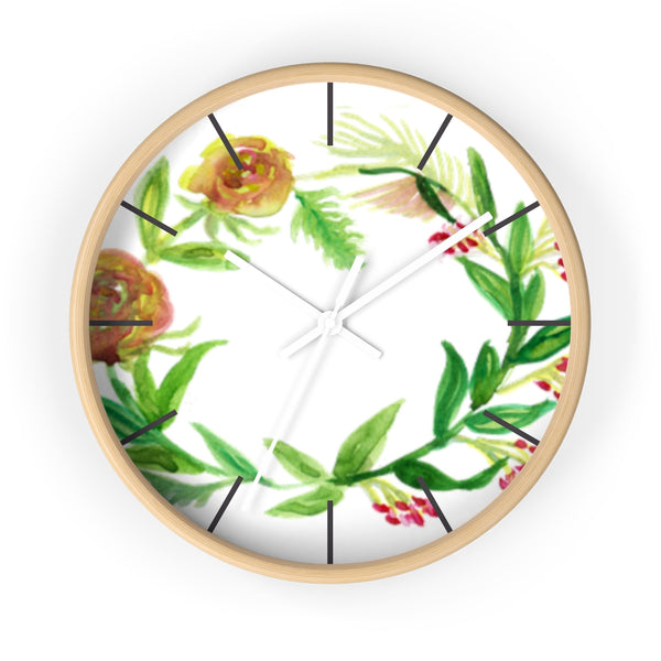 Orange Red Fall Roses Floral Print 10 inch Diameter Unique Wall Clock - Made in USA-Wall Clock-Wooden-White-Heidi Kimura Art LLC