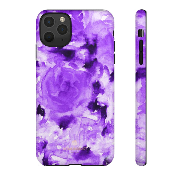 Purple Floral Rose Phone Case, Roses Floral Print Tough Designer Phone Case -Made in USA-Phone Case-Printify-iPhone 11 Pro Max-Glossy-Heidi Kimura Art LLC
