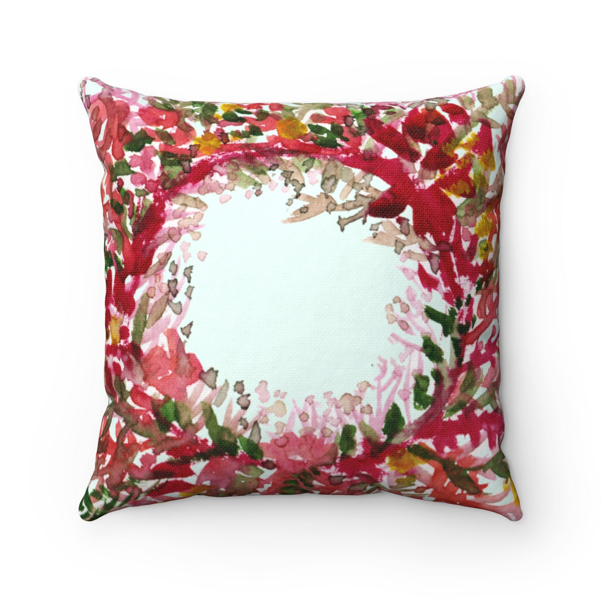 Cute Red and Yellow Fall Floral Wreath Spun Polyester Square Pillow - Made in USA-Pillow-14x14-Heidi Kimura Art LLC