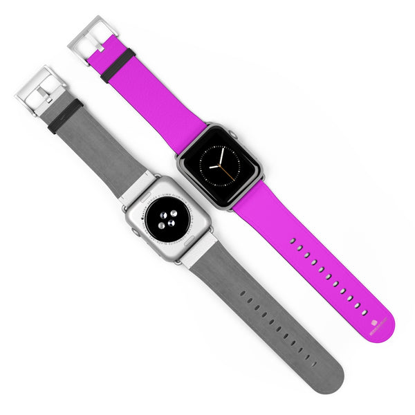 Hot Pink Solid Color Solid Color 38mm/42mm Watch Band For Apple Watches- Made in USA-Watch Band-Heidi Kimura Art LLC