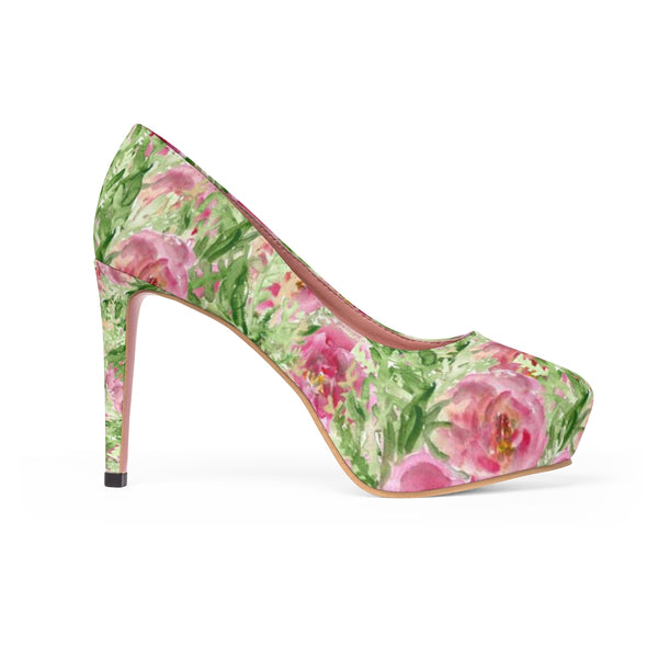 "Rose Princess Floral Designer Women's 4"" Platform Heels Pumps Shoes (US Size 5-11)-4 inch Heels-Heidi Kimura Art LLC Rose Floral 4"" Heels, Best Floral Heels, British Rose Princess Floral Print Designer Women's 4"" Platform Heels Pumps Shoes (US Size 5-11)"