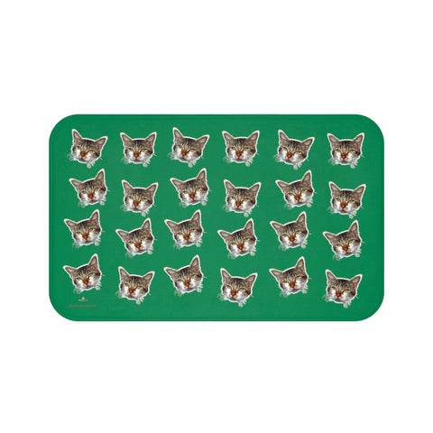 Dark Green Peanut Meow Calico Cat Premium Soft Microfiber Bath Mat- Printed in USA-Bath Mat-Large 34x21-Heidi Kimura Art LLC