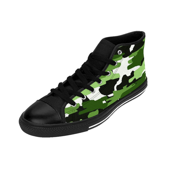 Frog White Green Camouflage Army Military Print Men's High-top Sneakers Shoes-Men's High Top Sneakers-Black-US 9-Heidi Kimura Art LLC