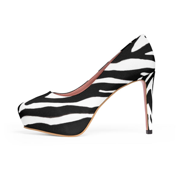 Black White Zebra Stripe Animal Print Women's 4 inch Platform Heels Pumps Stilettos-4 inch Heels-Heidi Kimura Art LLC