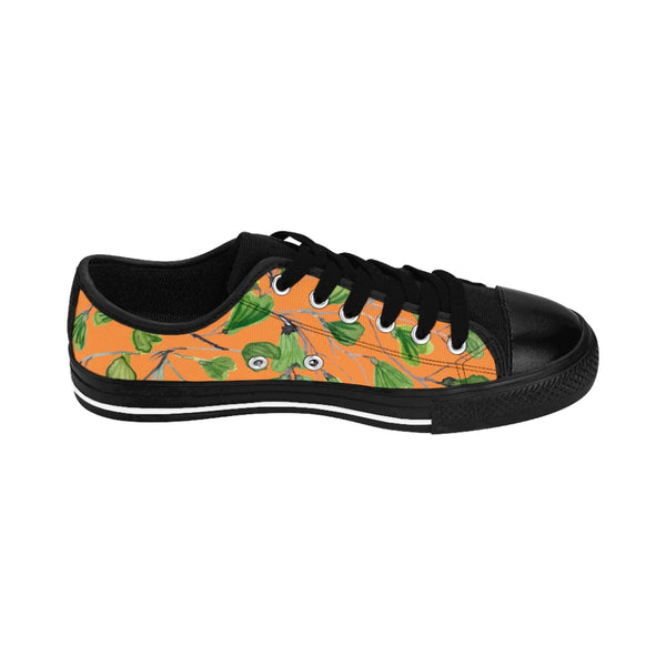 Orange Green Maidenhair Print Men's Sneakers, Best Tropical Leaf Print Men's Low Top Tennis Shoes-Shoes-Printify-Heidi Kimura Art LLC Orange Green Maidenhair Men's Sneakers, Best Tropical Leaf Print Premium Men's Nylon Canvas Tennis Fashion Sneakers Shoes (US Size: 7-14)