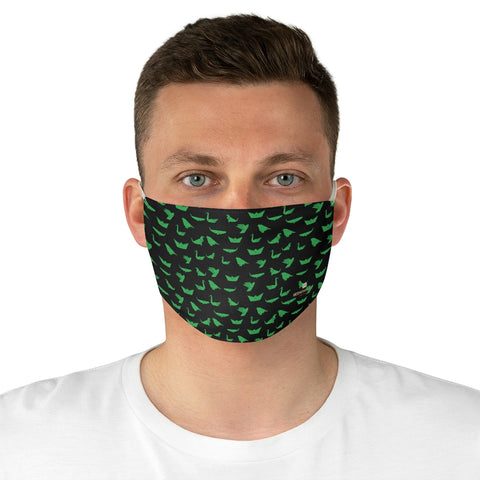 "Japanese Crane Face Mask, Adult Modern Fabric Face Mask-Made in USA-Accessories-Printify-One size-Heidi Kimura Art LLC Japanese Style Crane Face Mask, Black Green Japanese Bird Style Designer Fashion Face Mask For Men/ Women, Designer Premium Quality Modern Polyester Fashion 7.25"" x 4.63"" Fabric Non-Medical Reusable Washable Chic One-Size Face Mask With 2 Layers For Adults With Elastic Loops-Made in USA"