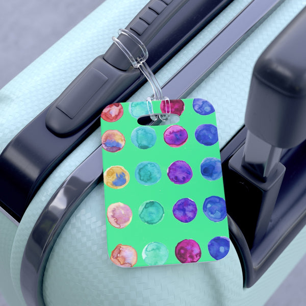 Cute Watercolor Polka Dots Designer Travel Luggage Suitcase Bag Tag- Made in USA-Bag Tags-One Size-Heidi Kimura Art LLC