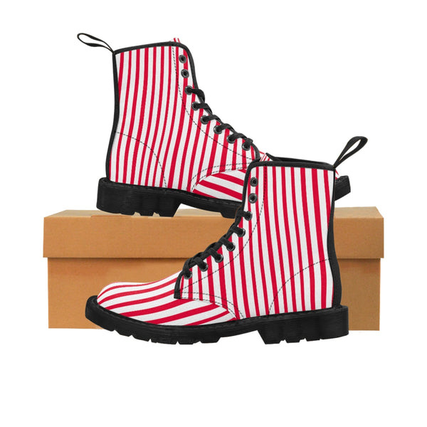 Red Striped Print Men's Boots, White Red Stripes Best Hiking Winter Boots Laced Up Shoes For Men-Shoes-Printify-Heidi Kimura Art LLC Red Striped Print Men's Boots, Red White Stripes Men's Canvas Hiking Winter Boots, Fashionable Modern Minimalist Best Anti Heat + Moisture Designer Comfortable Stylish Men's Winter Hiking Boots Shoes For Men (US Size: 7-10.5)