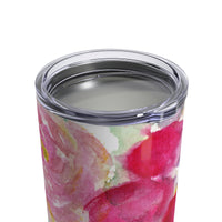 Fuyu Winter Pink Rose Floral Tumbler 10oz - Heidi Kimura Art LLC