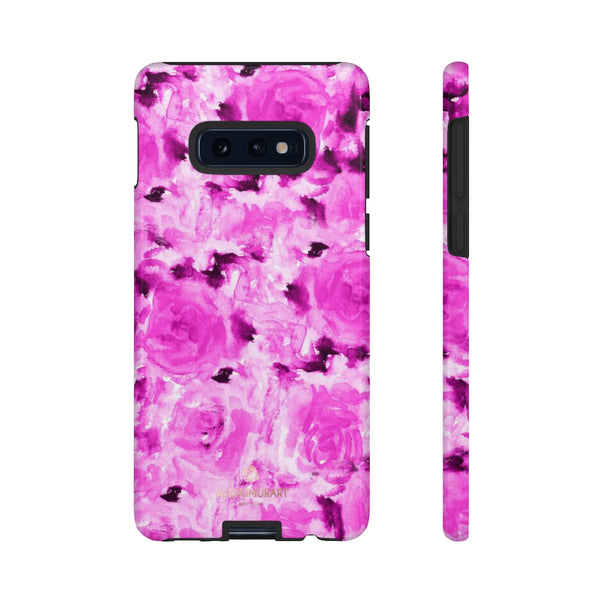 Hot Pink Floral Print Phone Case, Abstract Print Tough Cases, Designer Phone Case-Made in USA-Phone Case-Printify-Samsung Galaxy S10E-Glossy-Heidi Kimura Art LLC