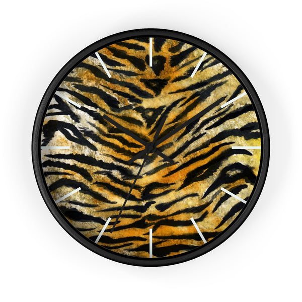 "Stylish Tiger Stripe Faux Fur Pattern Animal Print 10"" Diameter Wall Clock - Made in USA-Wall Clock-Black-Black-Heidi Kimura Art LLC"
