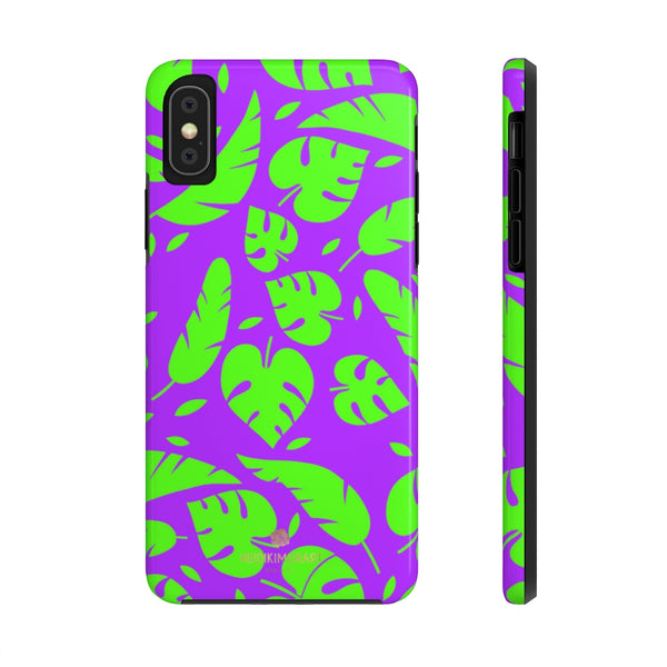 Green Colorful Tropical Leaf Print Designer Case Mate Tough Phone Cases-Made in USA - Heidikimurart Limited