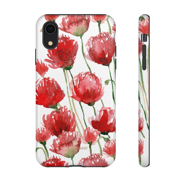 Red Tulips Floral Tough Cases, Roses Flower Print Best Designer Phone Case-Made in USA-Phone Case-Printify-iPhone XR-Glossy-Heidi Kimura Art LLC