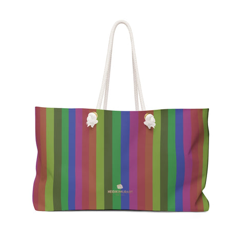 "Faded Vintage Style Rainbow Stripe Print Oversized 24""x13"" Large Weekender Bag-Weekender Bag-24x13-Heidi Kimura Art LLC"