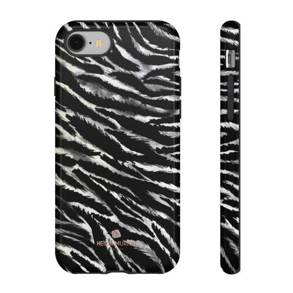 White Tiger Stripe Phone Case, Animal Print Tough Designer Phone Case -Made in USA-Phone Case-Printify-iPhone 8-Glossy-Heidi Kimura Art LLC
