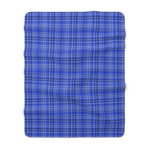 "Preppy Blue Plaid Tartan Print Designer Cozy Sherpa Fleece Blanket-Made in USA-Blanket-60"" x 80""-Heidi Kimura Art LLC"