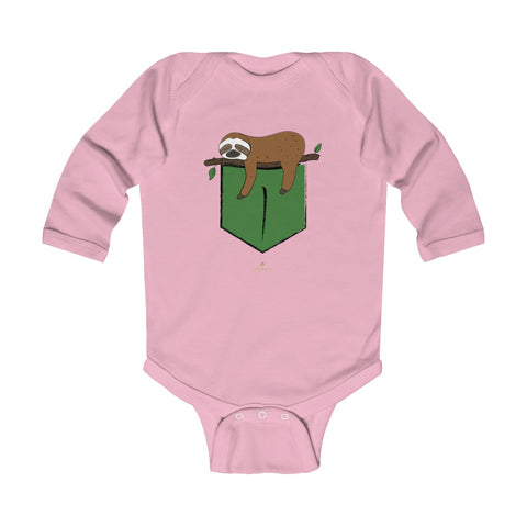 Sloth Animal Print Baby Boy or Girls Infant Kids Long Sleeve Bodysuit - Made in USA-Infant Long Sleeve Bodysuit-Pink-18M-Heidi Kimura Art LLC
