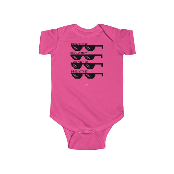 Deal With It Funny Infant Fine Jersey Regular Fit Unisex Cute Cotton Bodysuit - Made in UK-Infant Short Sleeve Bodysuit-Hot Pink-NB-Heidi Kimura Art LLC