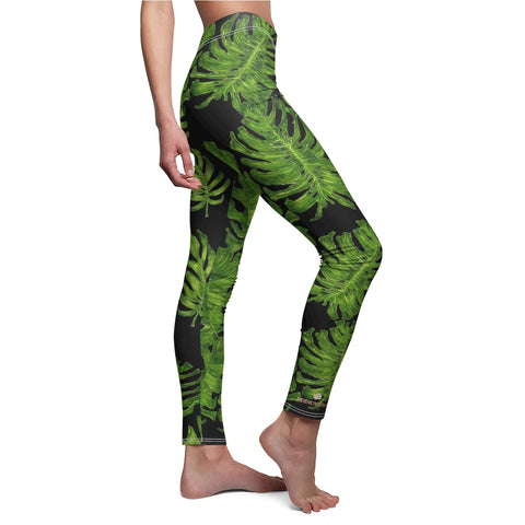 Black Green Tropical Leaf Print Women's Dressy Long Best Casual Leggings-Made in USA-Casual Leggings-Heidi Kimura Art LLC Green Tropical Leaf Tights, Black Green Tropical Leaf Print Women's Fancy Dressy Cut & Sew Casual Leggings - Made in USA (US Size: XS-2XL) Leaf Print Leggings for Women, Workout & Casual Leggings, Tropical Yoga Leggings Pants