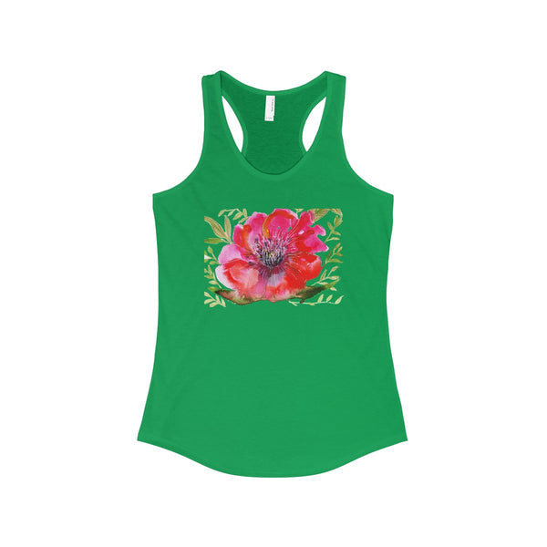 Red Designer Best Floral Women's Ideal Racerback Tank - Made in the USA-Tank Top-Solid Kelly Green-XS-Heidi Kimura Art LLC