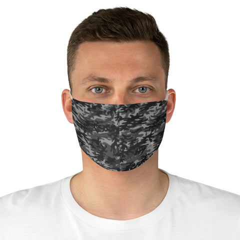 "Gray Camouflage Print Face Mask, Adult Modern Fabric Face Mask-Made in USA-Accessories-Printify-One size-Heidi Kimura Art LLC Gray Camouflage Print Face Mask, Army Military Printed Designer Modern Minimalist Designer Horizontally Stripes Fashion Face Mask For Men/ Women, Designer Premium Quality Modern Polyester Fashion 7.25"" x 4.63"" Fabric Non-Medical Reusable Washable Chic One-Size Face Mask With 2 Layers For Adults With Elastic Loops-Made in USA"