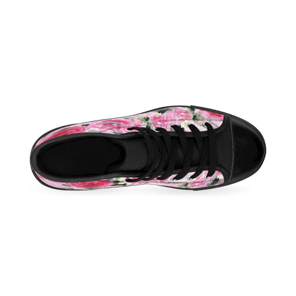Pink Abstract Rose Floral Print Pink Designer Women's High Top Sneakers (US Size: 6-12)-Women's High Top Sneakers-Heidi Kimura Art LLC Pink Rose Women's Sneakers, Feminine Sporty Modern Pink Abstract Rose Floral Print Pink Designer Women's High Top Sneakers Tennis Running Shoes (US Size: 6-12)