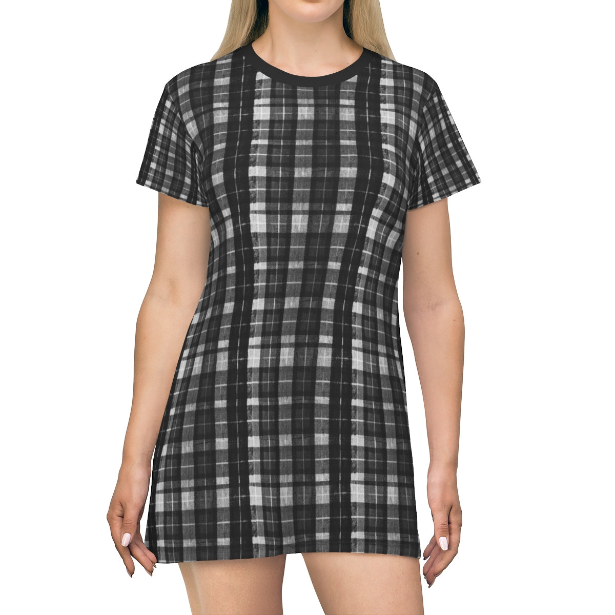 Black Tartan Print T-Shirt Dress, Gray Plaid Print Crew Neck Women's Dress- Made in USA-T-Shirt Dress-L-Heidi Kimura Art LLC