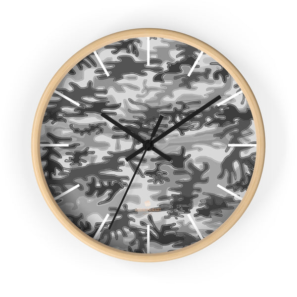 Gray Camo Camoflage Military Print Large Unique Indoor Wall Clocks- Made in USA-Home Decor-10 in-Wooden-Black-Heidi Kimura Art LLC