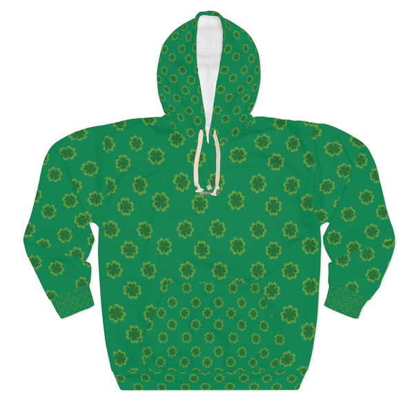 Dark Green Clover St. Patrick's Day Unisex Pullover Hoodie For Men/ Women- Made in USA-Unisex Hoodie-2XL-Heidi Kimura Art LLC