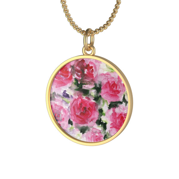 pink rose floral print necklace jewelry gold silver fashionable cute girlie