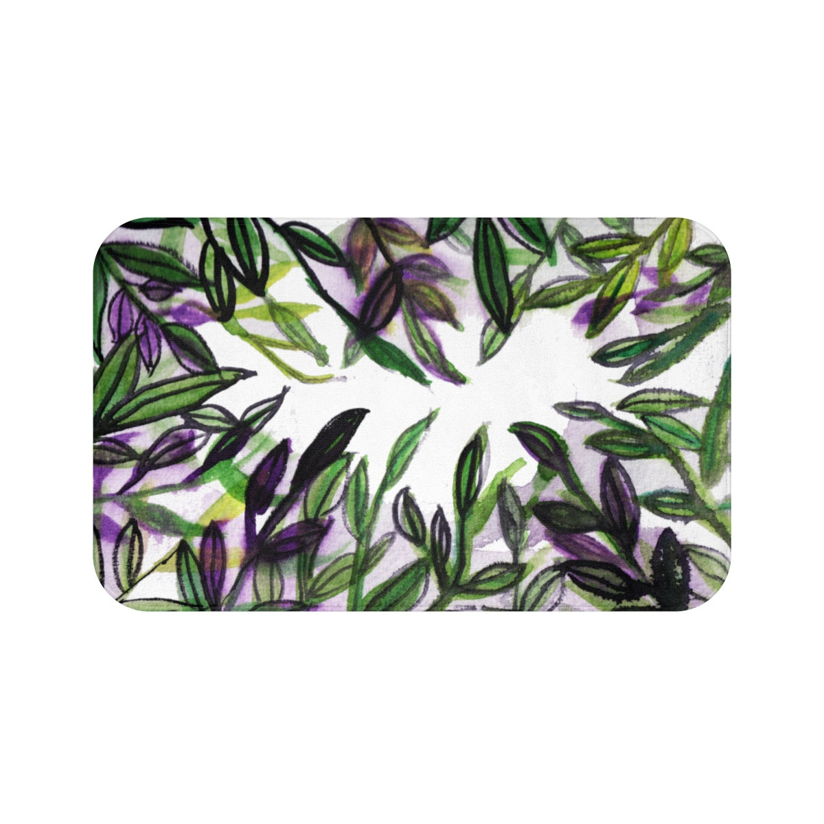 Real Fragrance Green Tropical Leaf Print Anti-Slip Microfiber Bath Mat -Printed in USA-Bath Mat-Large 34x21-Heidi Kimura Art LLC