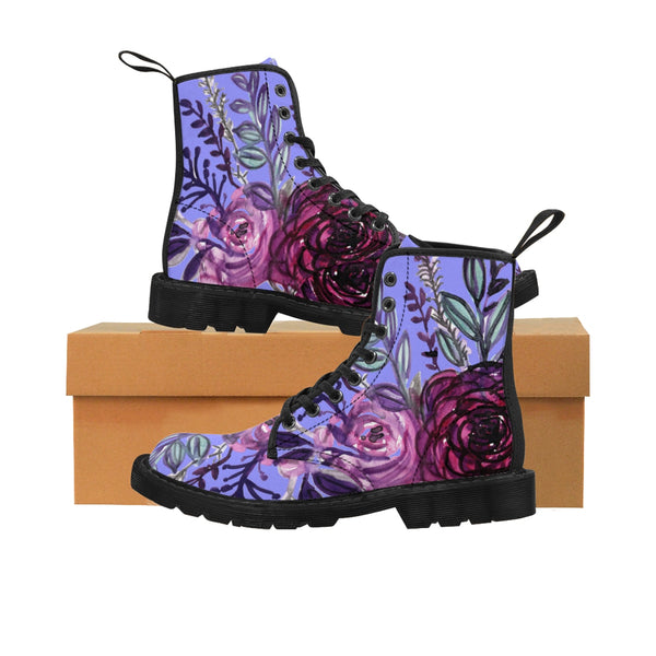 Aya Purple Rose Floral Print Designer Women's Winter Laced-Up Nylon Canvas Boots (US Size: 6.5-11)