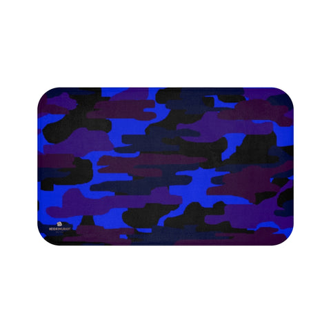 Dark Blue Purple Camo Print Premium Soft Microfiber Fine Bathroom Bath Mat- Printed in USA-Bath Mat-Large 34x21-Heidi Kimura Art LLC