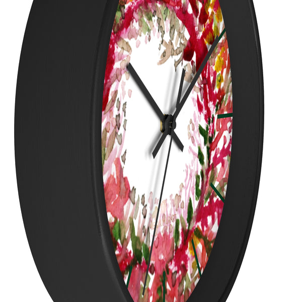 Fall Orange Red Floral Print Designer 10 in. Dia. Indoor Wall Clock- Made in USA-Wall Clock-Heidi Kimura Art LLC