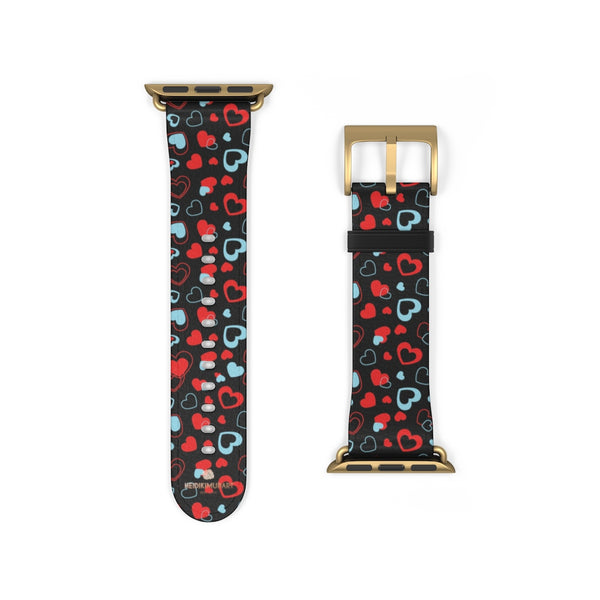 Black Red Hearts Shaped V Day 38mm/42mm Watch Band For Apple Watch- Made in USA-Watch Band-38 mm-Gold Matte-Heidi Kimura Art LLC