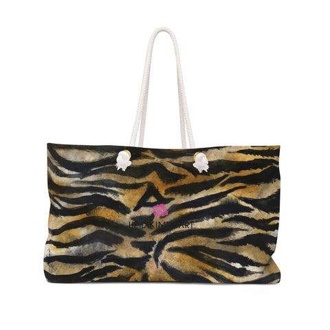 "Wild Tiger Stripe Animal Print Pattern Designer 24""x13"" Weekender Bag - Made in USA-Weekender Bag-24x13-Heidi Kimura Art LLC"