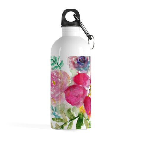 Mixed Pink Rose Floral Print Stainless Steel 14 oz Designer Water Bottle- Made in USA-Mug-14oz-Heidi Kimura Art LLC