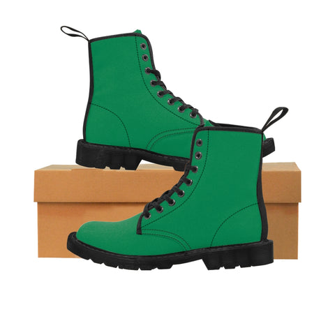 Emerald Green Women's Hiking Boots, Dark Green Classic Solid Color Designer Women's Winter Lace-up Toe Cap Hiking Canvas Boots Shoes (US Size: 6.5-11)