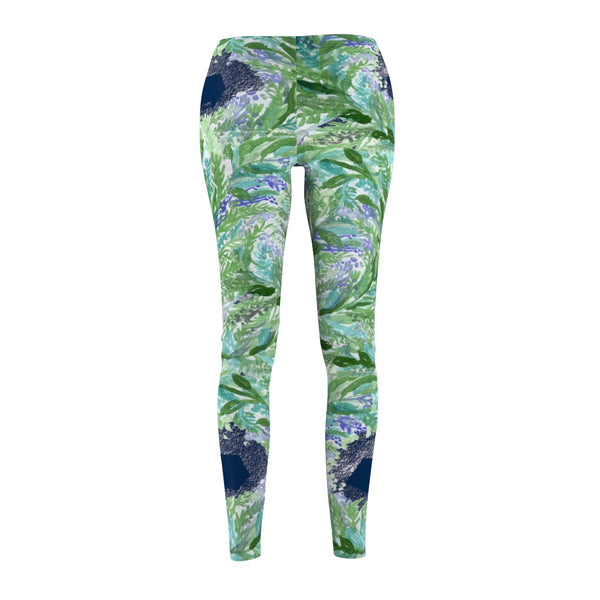 Navy Blue French Lavender Floral Print Women's Casual Leggings Tights- Made in USA-Casual Leggings-Heidi Kimura Art LLC