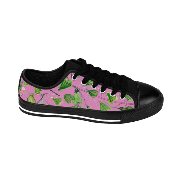 Pink Green Maidenhair Men's Sneakers, Best Tropical Leaf Print Men's Low Top Tennis Shoes-Shoes-Printify-Heidi Kimura Art LLC Pink Green Maidenhair Men's Sneakers, Best Tropical Leaf Print Premium Men's Nylon Canvas Tennis Fashion Sneakers Shoes (US Size: 7-14)