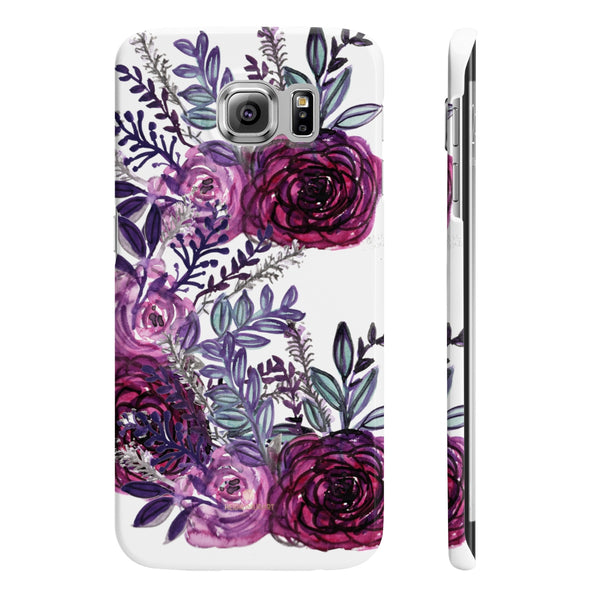White Purple Rose Slim iPhone/ Samsung Galaxy Floral Print Phone Case, Made in UK-Phone Case-Samsung Galaxy S6 Slim-Glossy-Heidi Kimura Art LLC