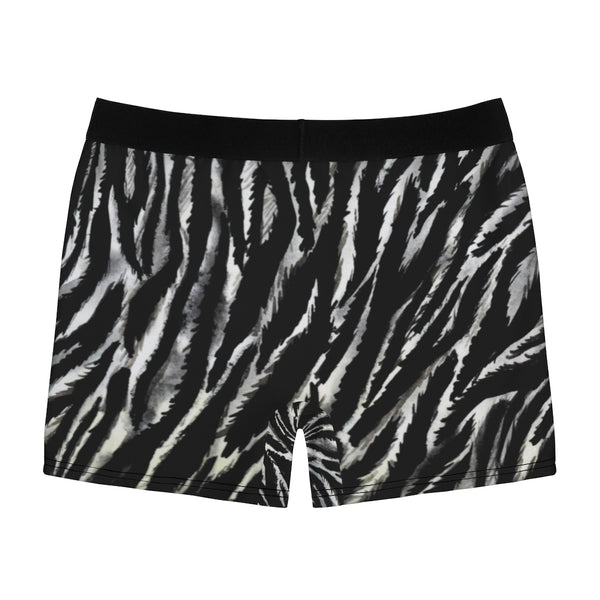 Zebra Stripes Men's Boxer Briefs, Black White Animal Print Best Underwear For Men Sexy Hot Men's Boxer Briefs Hipster Lightweight 2-sided Soft Fleece Lined Fit Underwear - (US Size: XS-3XL)
