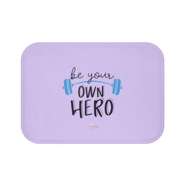 "Light Purple ""Be Your Own Hero"" Inspirational Quote Microfiber Bath Mat- Printed in USA-Bath Mat-Small 24x17-Heidi Kimura Art LLC"